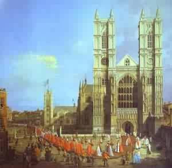 London westminster abbey with a procession of knights of the